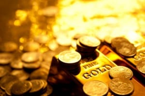 Picture of gold coins and bars