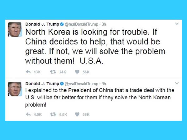 trump tweets on north korea